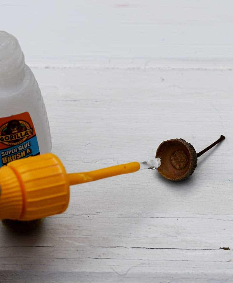 brushing acorn cap with glue