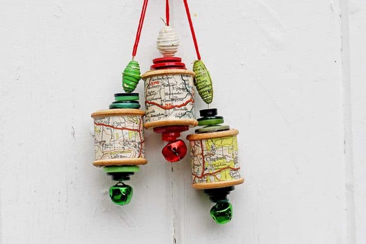 How To Make A Cotton Reel Map Christmas Ornament