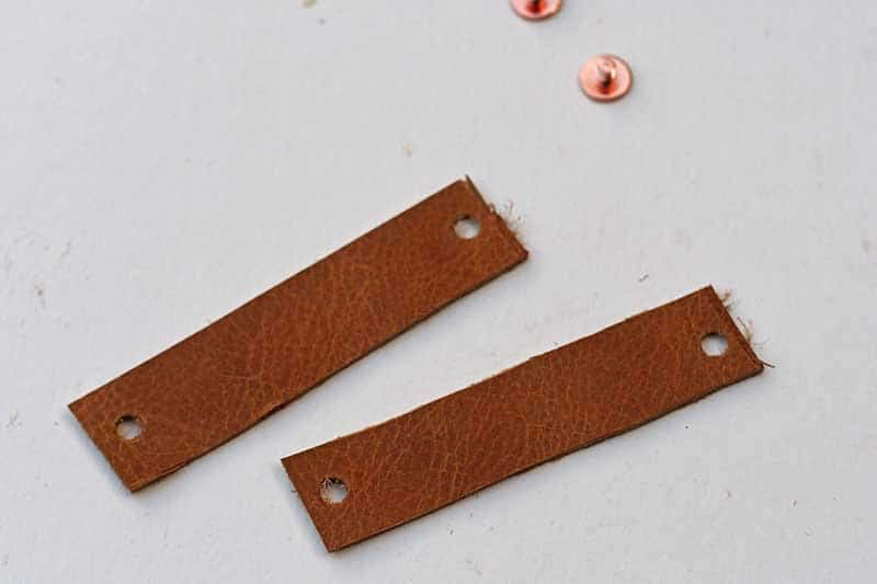 Leather strips with holes