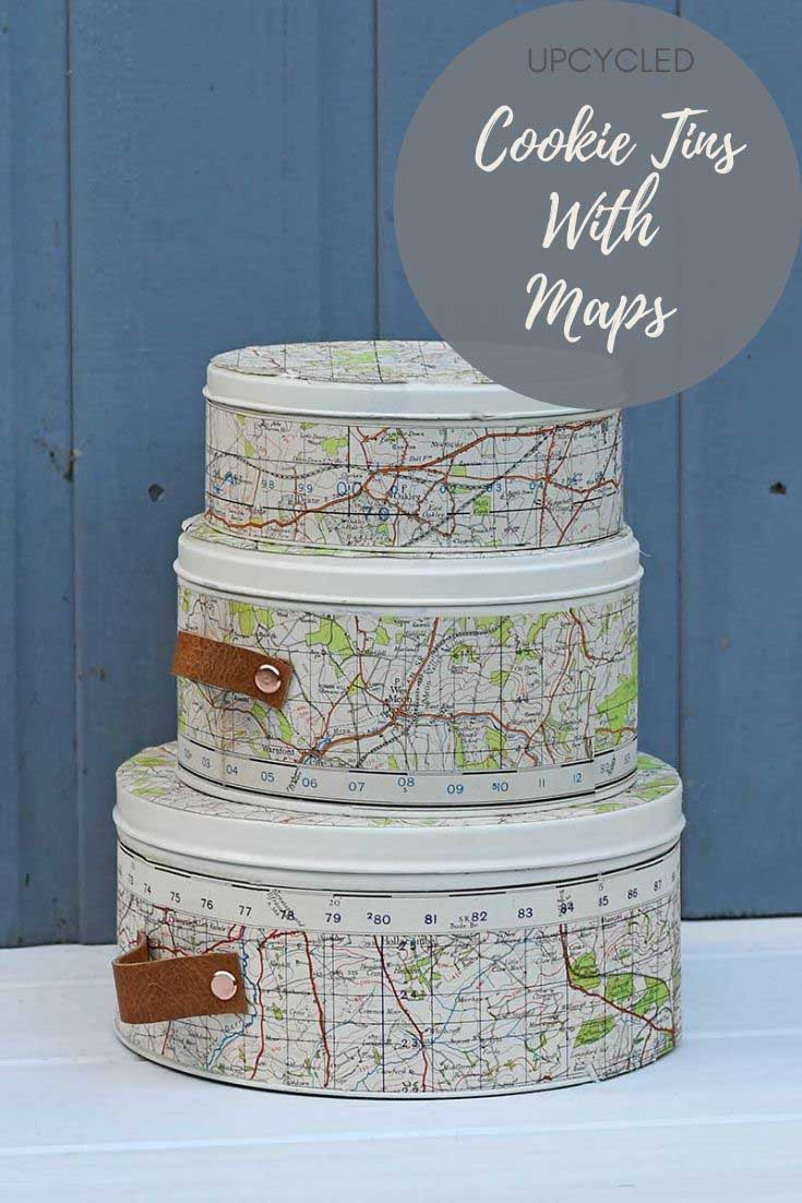 map upcycled cookie tins