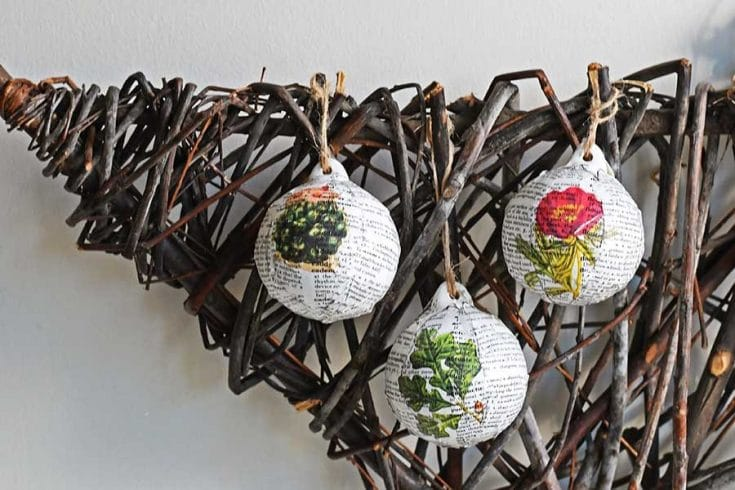 How To Make A fun Dictionary Christmas Decoupage Baubles