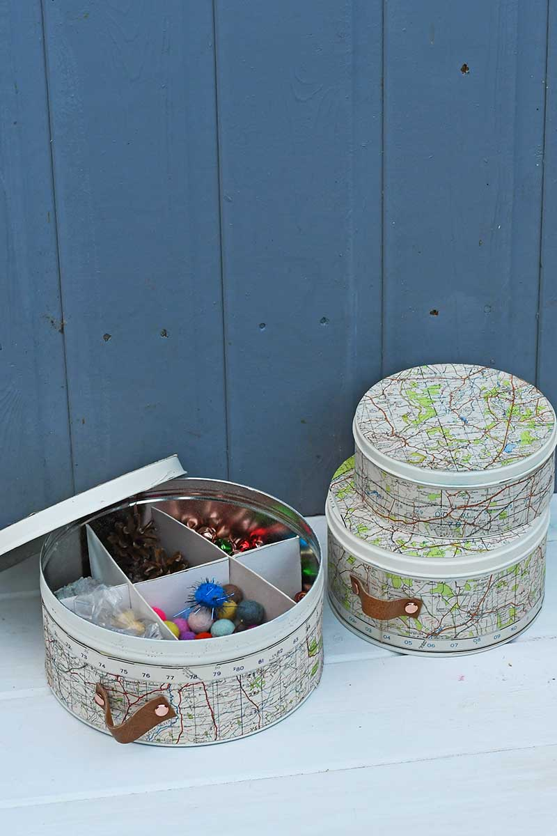 Map empty cookie tins