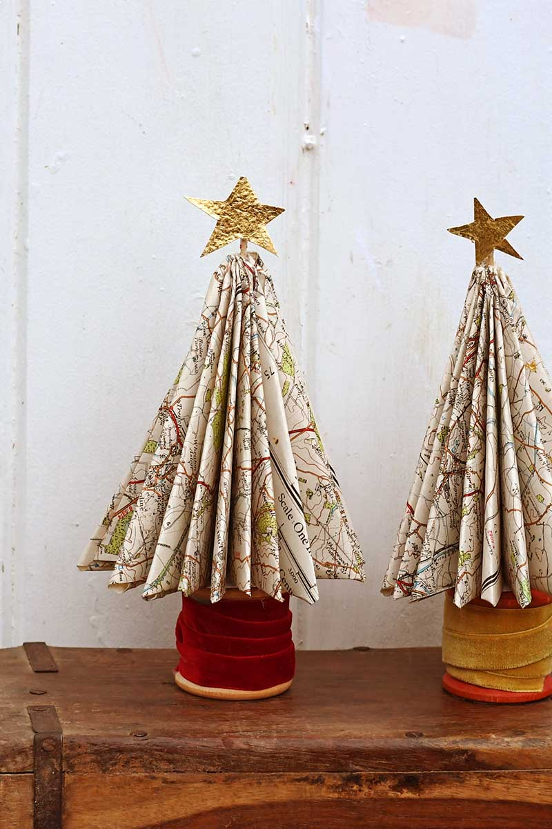 pair of map Christmas trees
