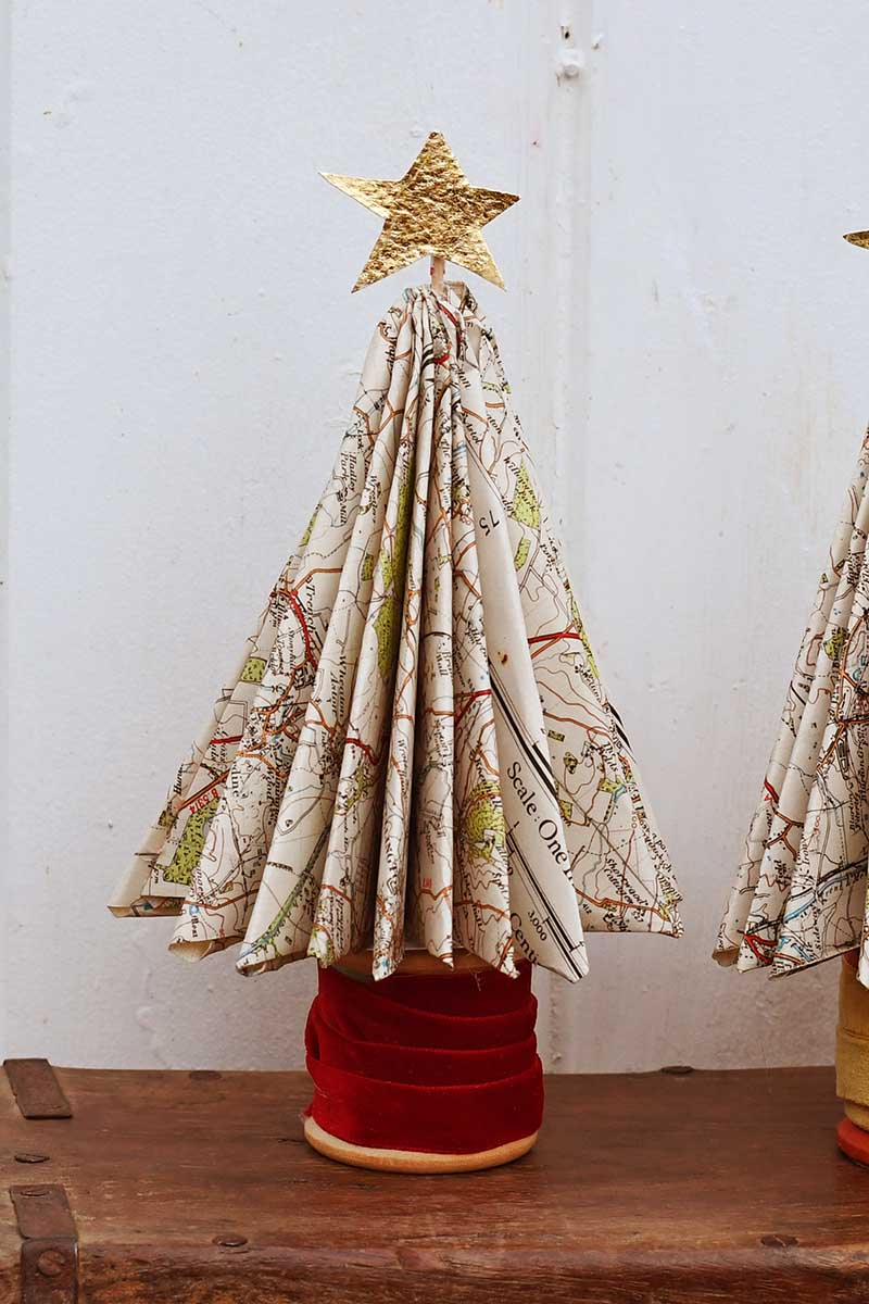 DIY Paper Christmas tress with maps.
