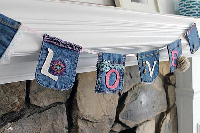 Denim Banner Made from Jean Pockets