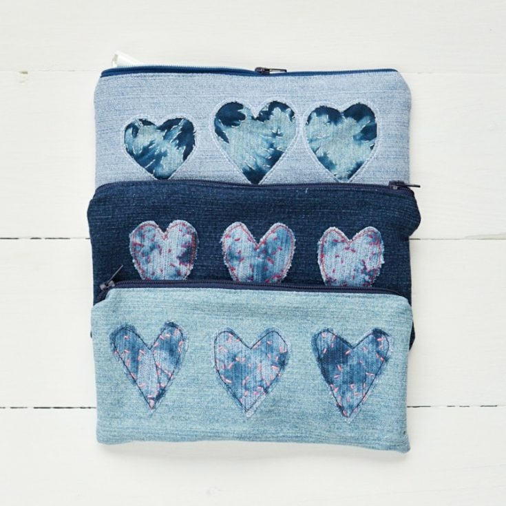 Shibori Trend - DIY Denim Heart Pencil Case · vicky myers creations
