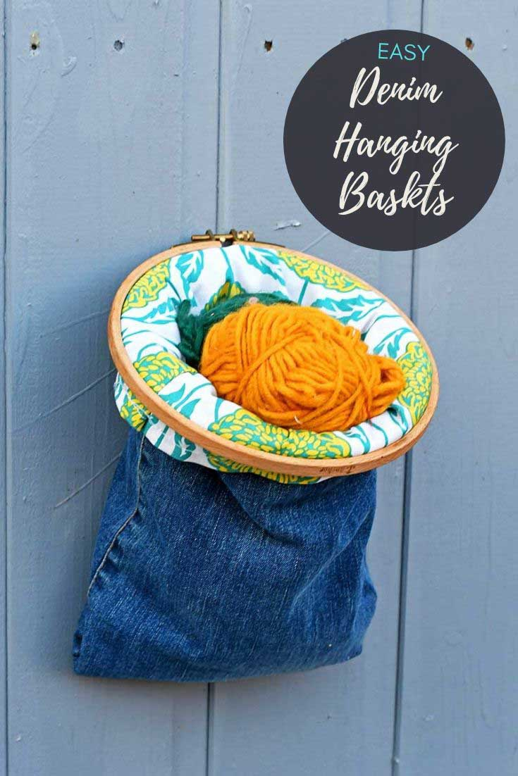upcycled jeans hanging storage baskets