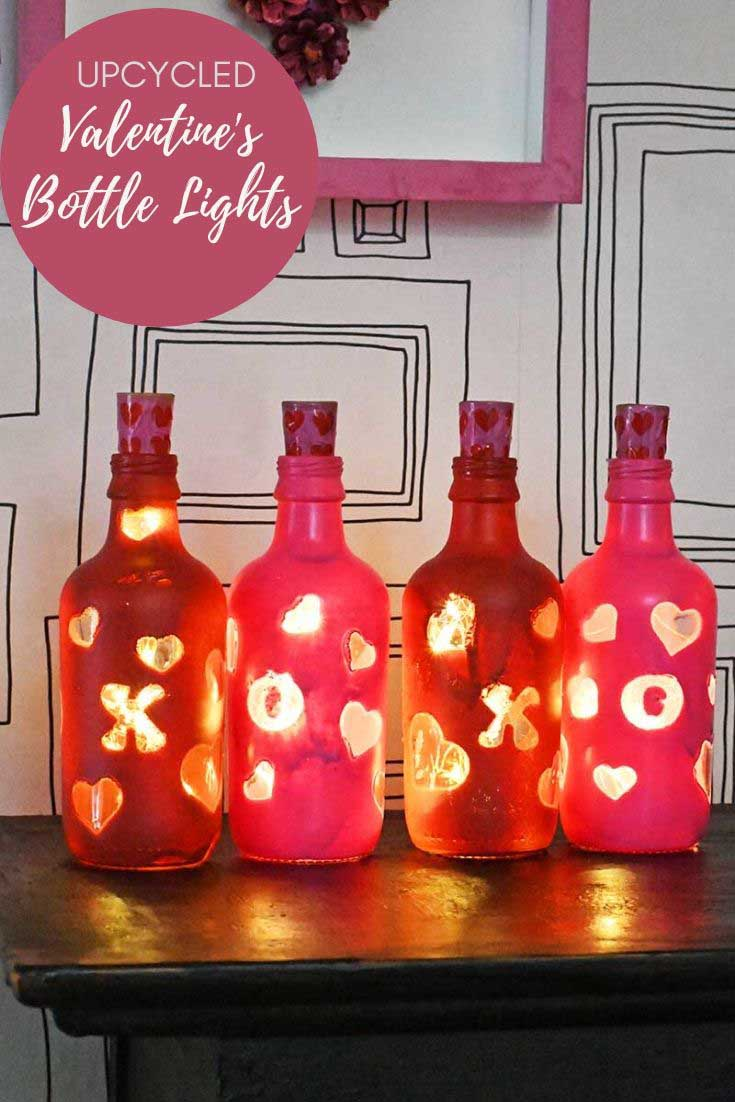 upcycled Valentine's bottle lights
