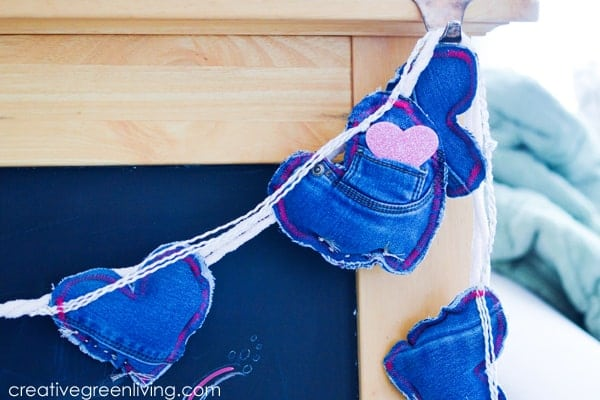 How to Use Old Jeans to Make a Cute Valentine Garland