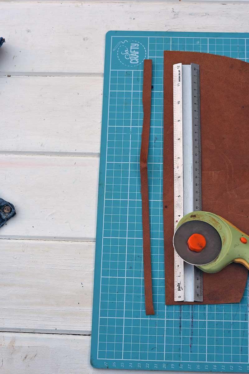 Cutting leather strip