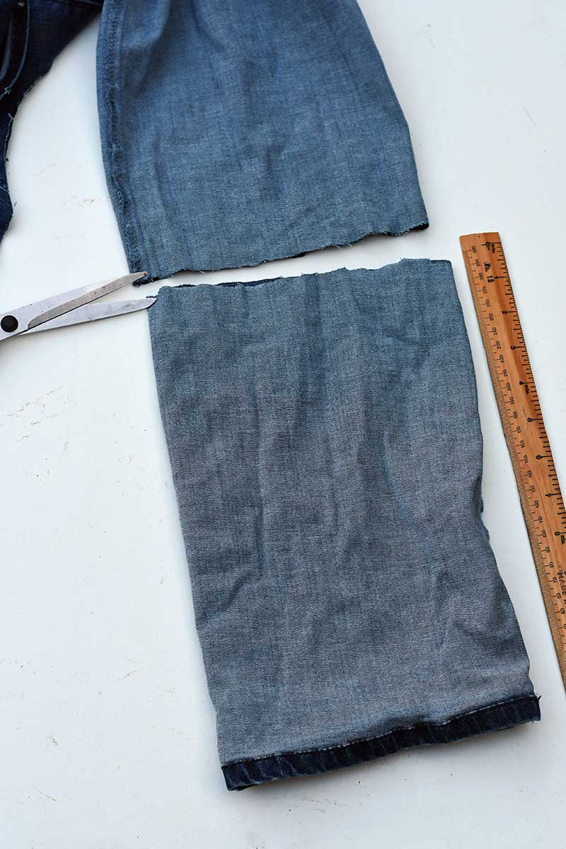 cutting the jeans leg