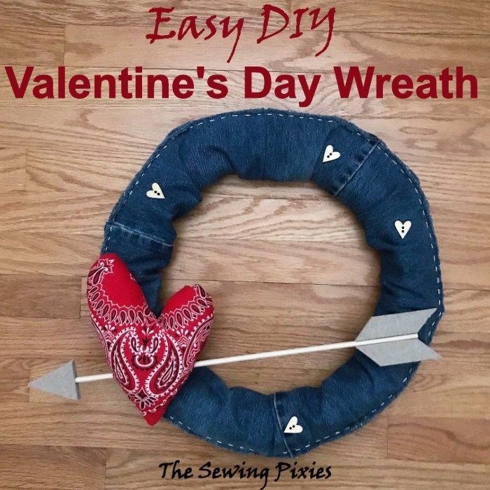 Easy DIY Old Jeans Valentine's Day Wreath