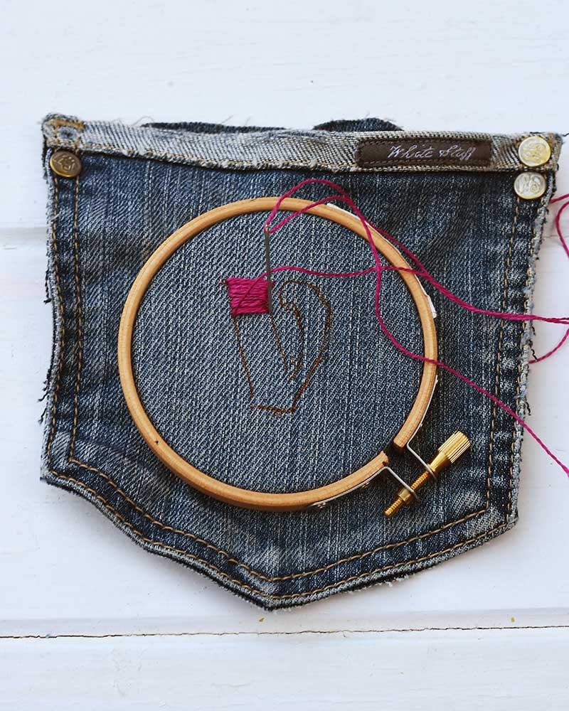 embroidering the pockets