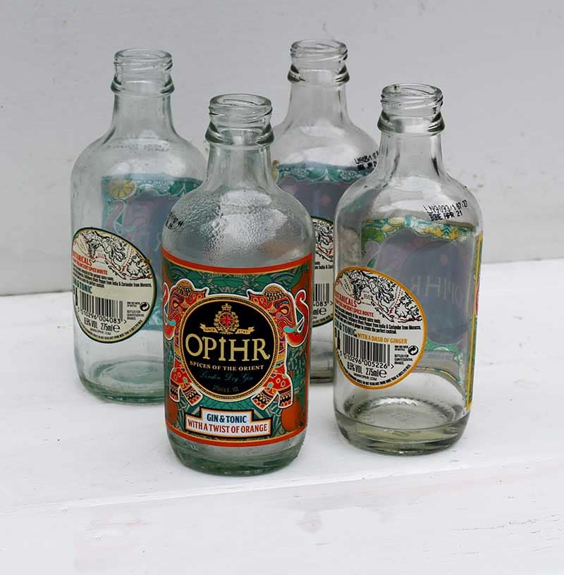 empty gin cocktail bottles