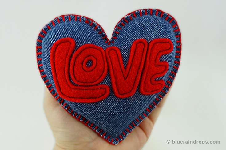 Denim and Felt love Cushion