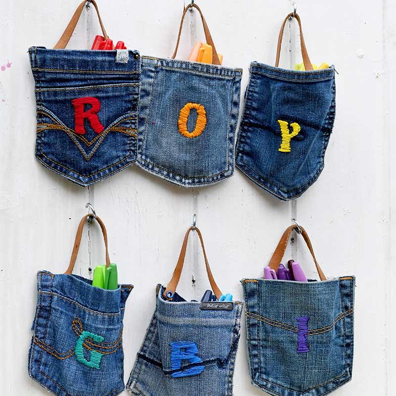 Hanging denim pockets