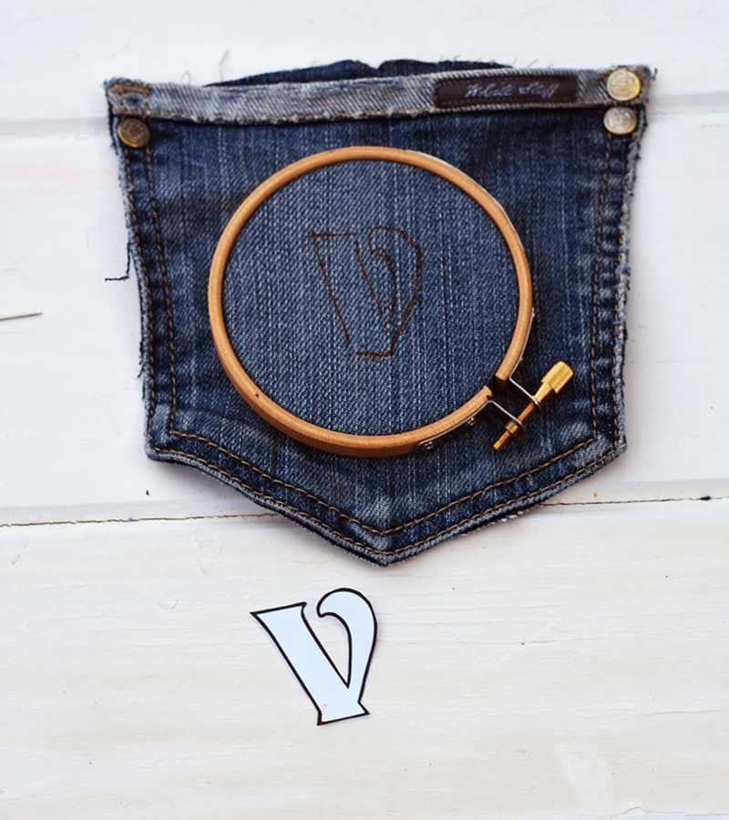 preparing embroidery template