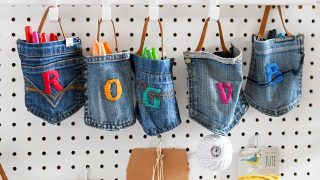 Upcycled hanging pocket storage from old jeans.