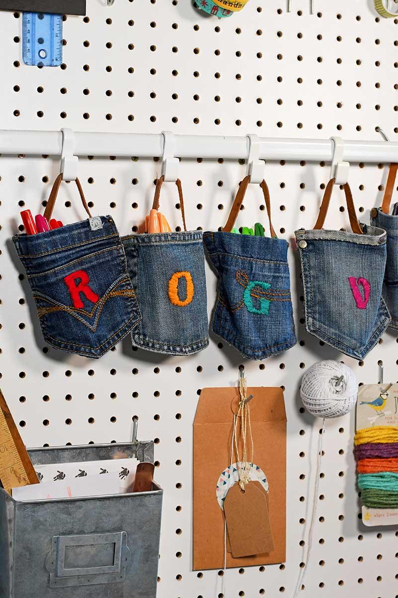 DIY denim hanging pockets