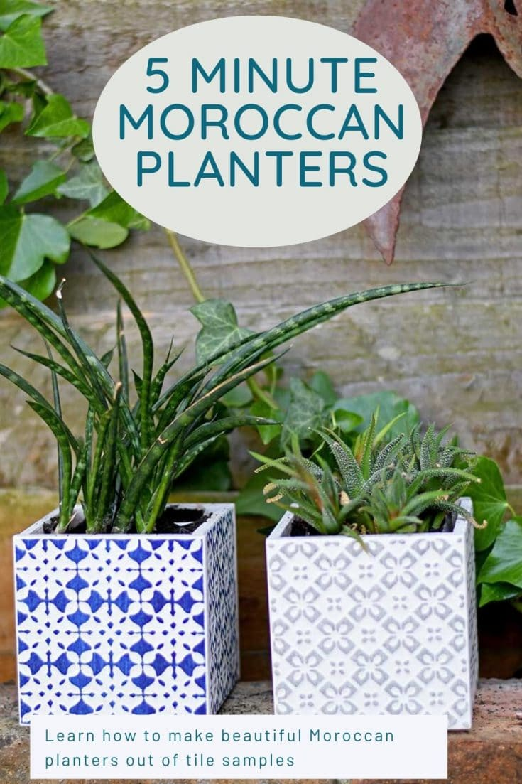 Not only do these Moroccan planters look fantastic they take less then 10mins to make.  Use sample tiles or left over tiles from other DIY projects.