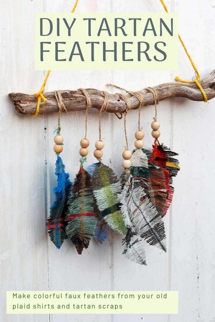 Make this gorgeous wall hanging of colorful faux feathers using tartan and plaid fabric scraps.  Full tutorial on the blog.
