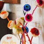 Rainbow DIY pom pom flowers pin