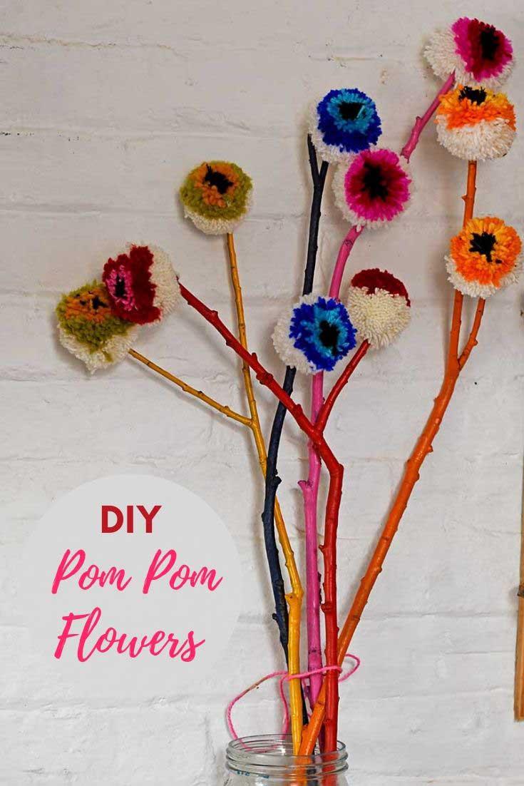 Rainbow DIY pom pom flower decorations