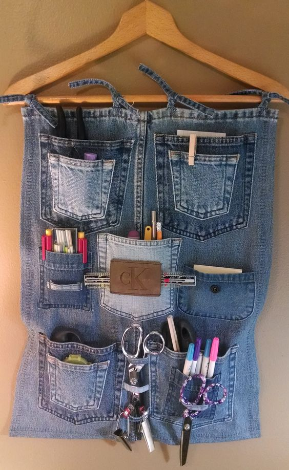 Create a Handy Wall Organizer from Old Jeans
