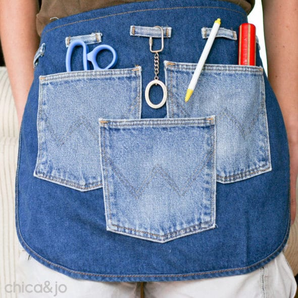 Apron pockets made from old jeans