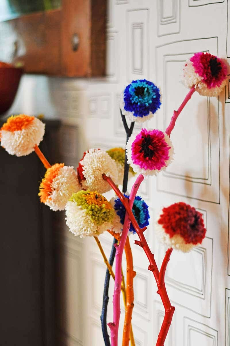 DIY pom pom flowers inside
