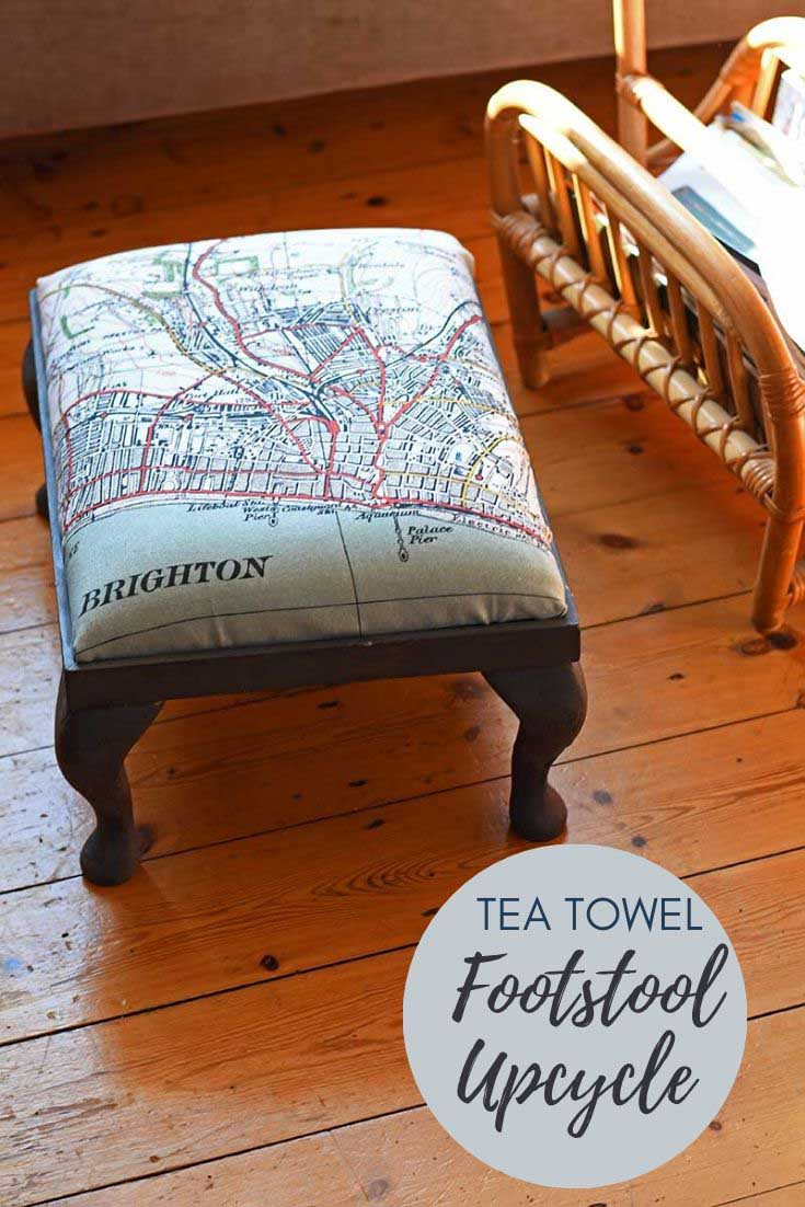 Tea towel upholstered footstool