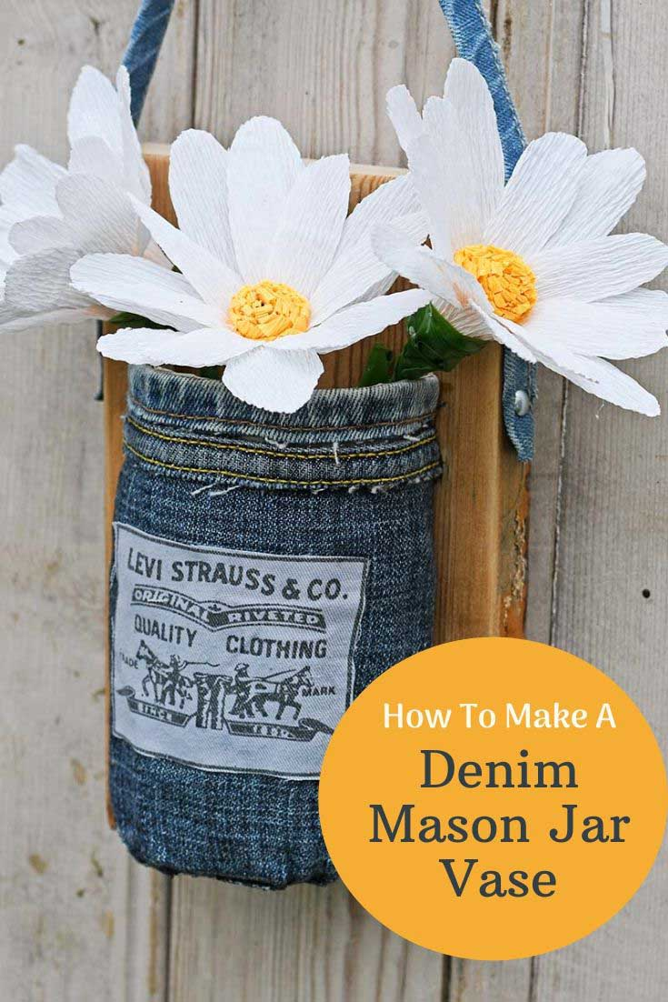 denim mason jar and paper daisies.