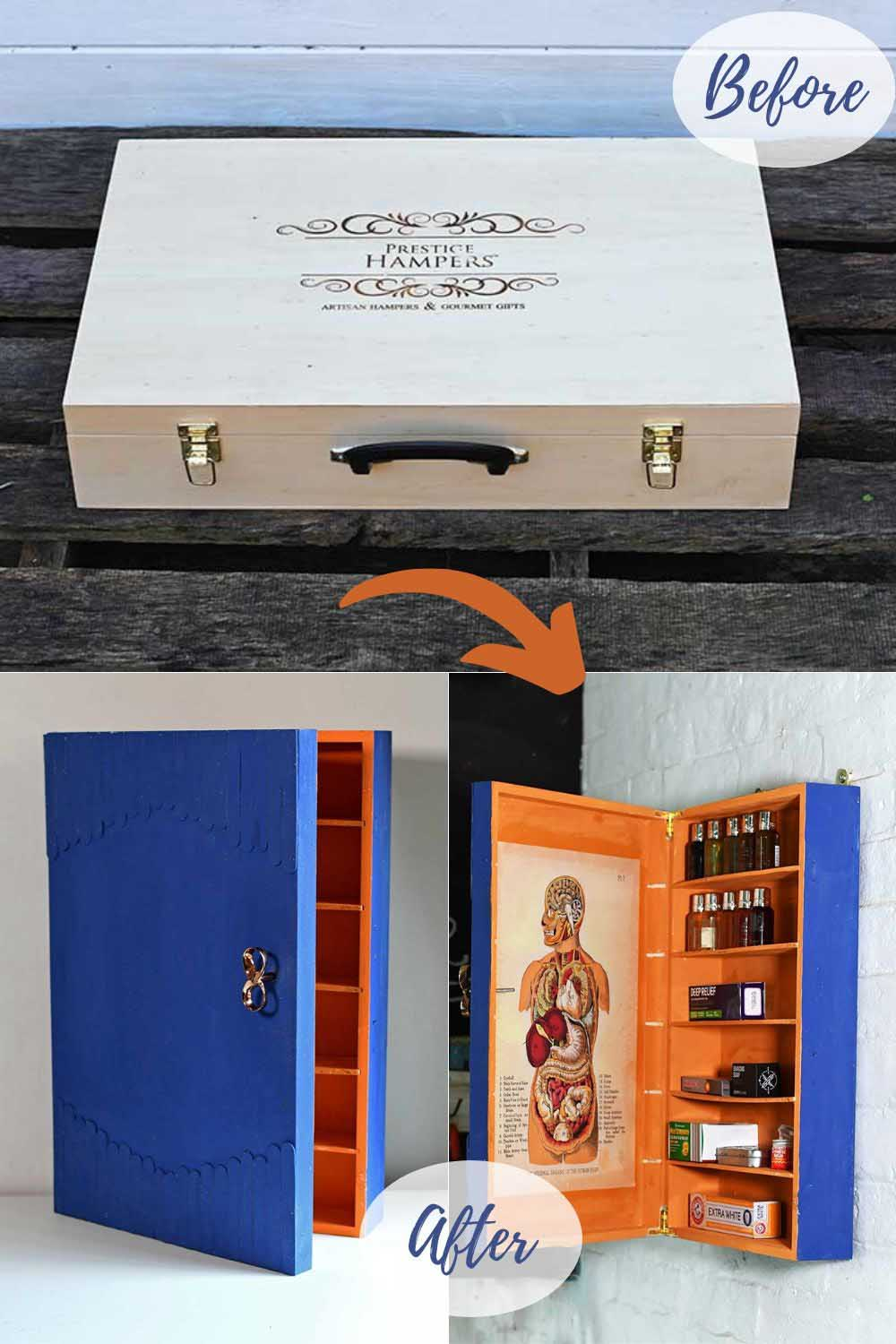 upcycled wine box bathroom storage