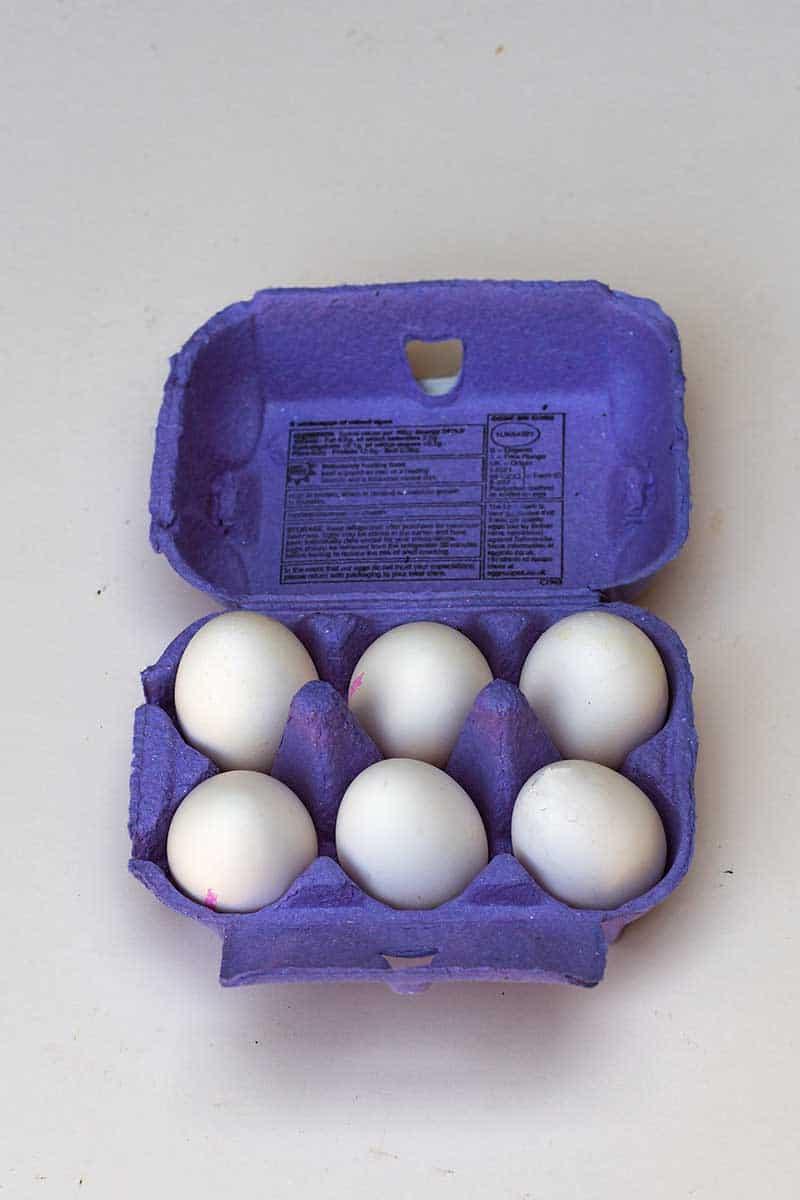 half a dozen white eggs