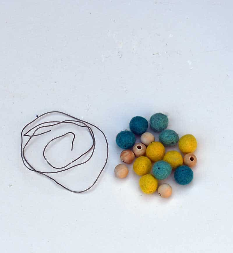 felt beads and wire
