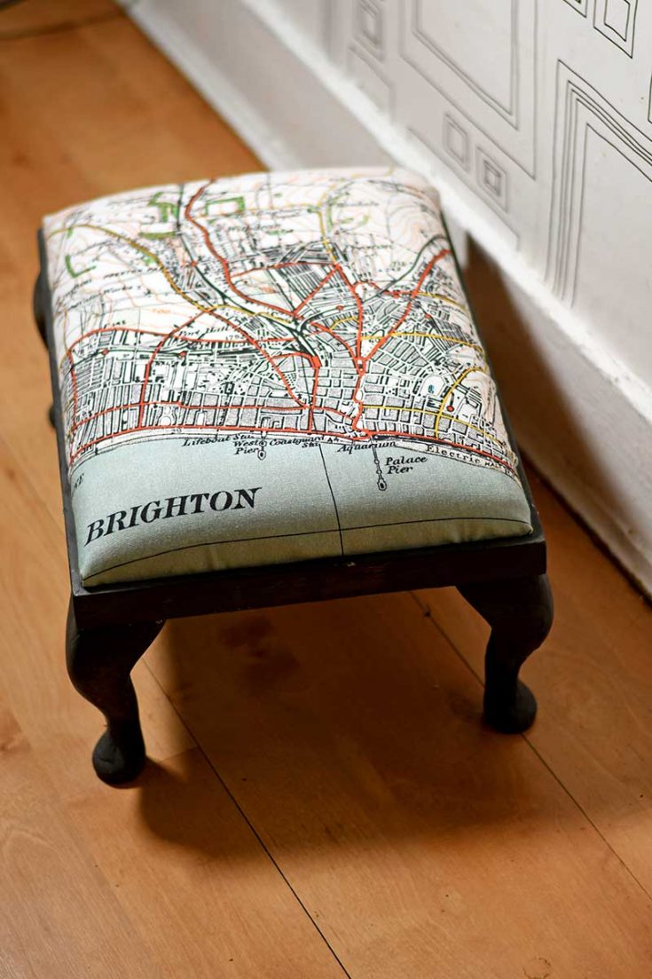 Footstool upcycle with a tea towel