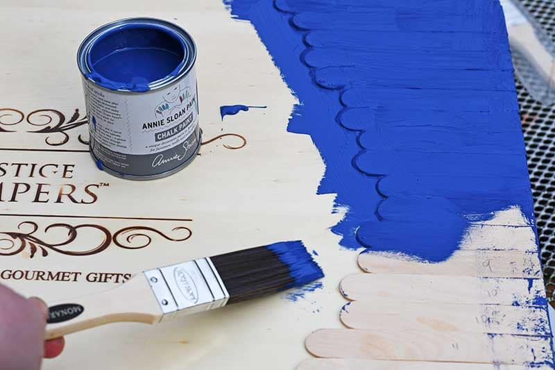 painting wine box in Annie Sloan Napoleonic blue