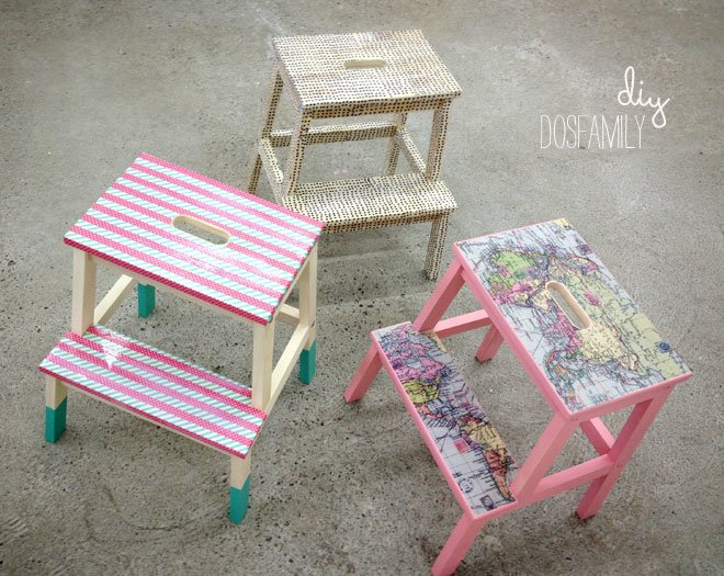Washi and decoupage makeover for Bekväm stool