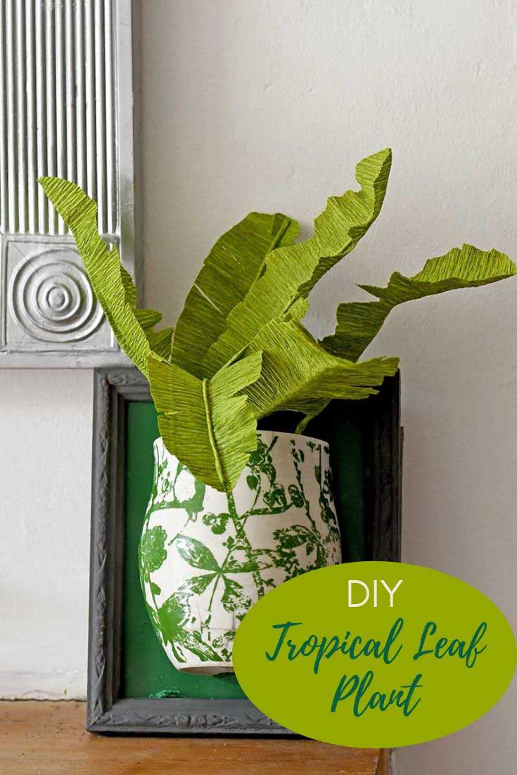 Boho DIY tropical leaf plant in an upcycled Anthropologie mug
