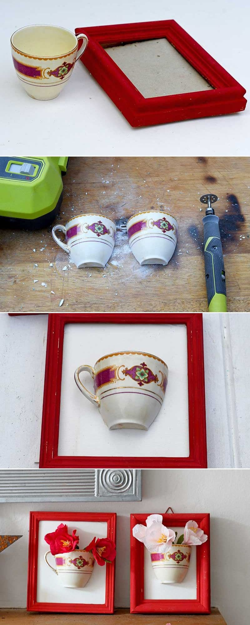 DIY China teacup wall vase