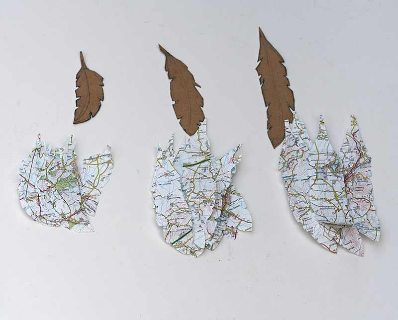 Cut out map feathers