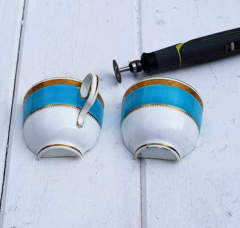 How to cut a China cup into 2 halves