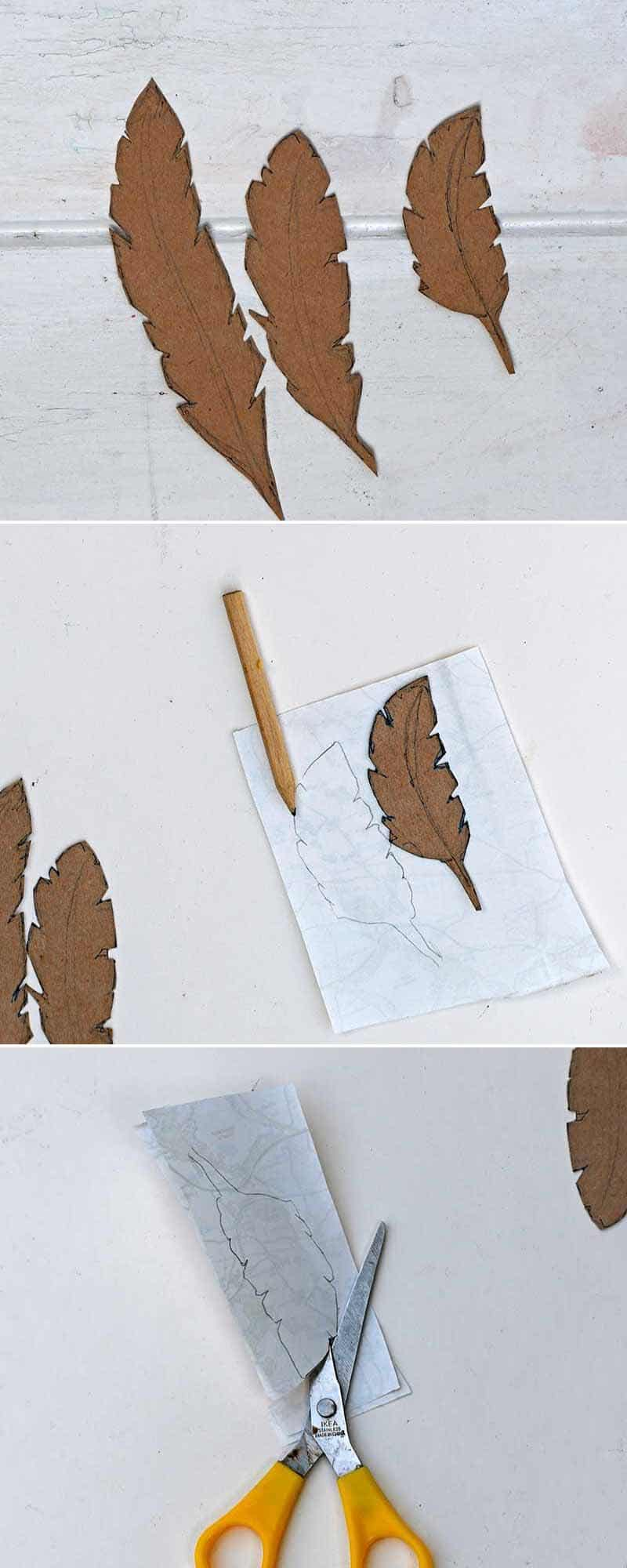 cutting out map feathers