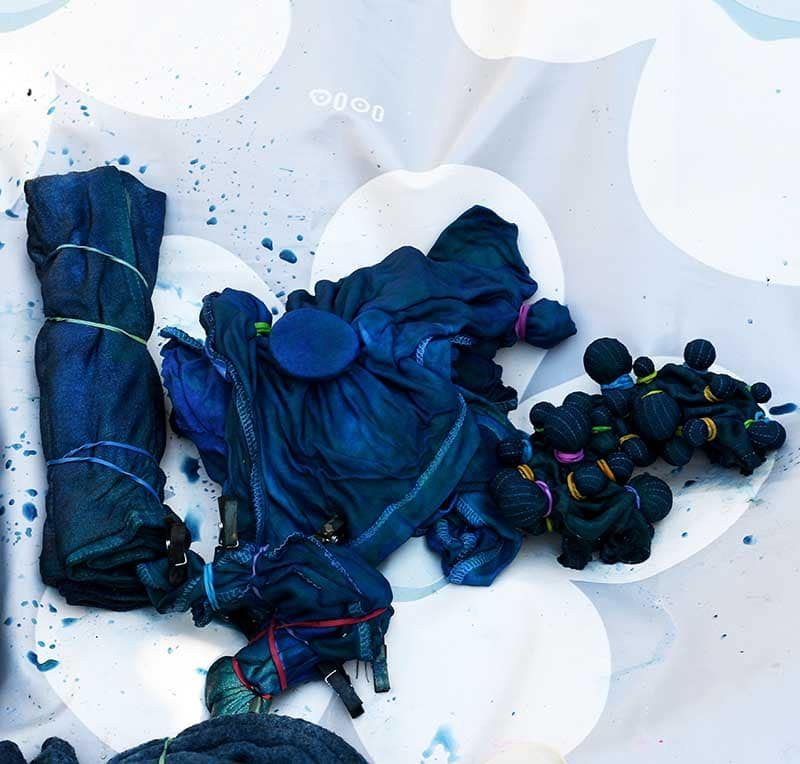 Making shibori indigo planter covers