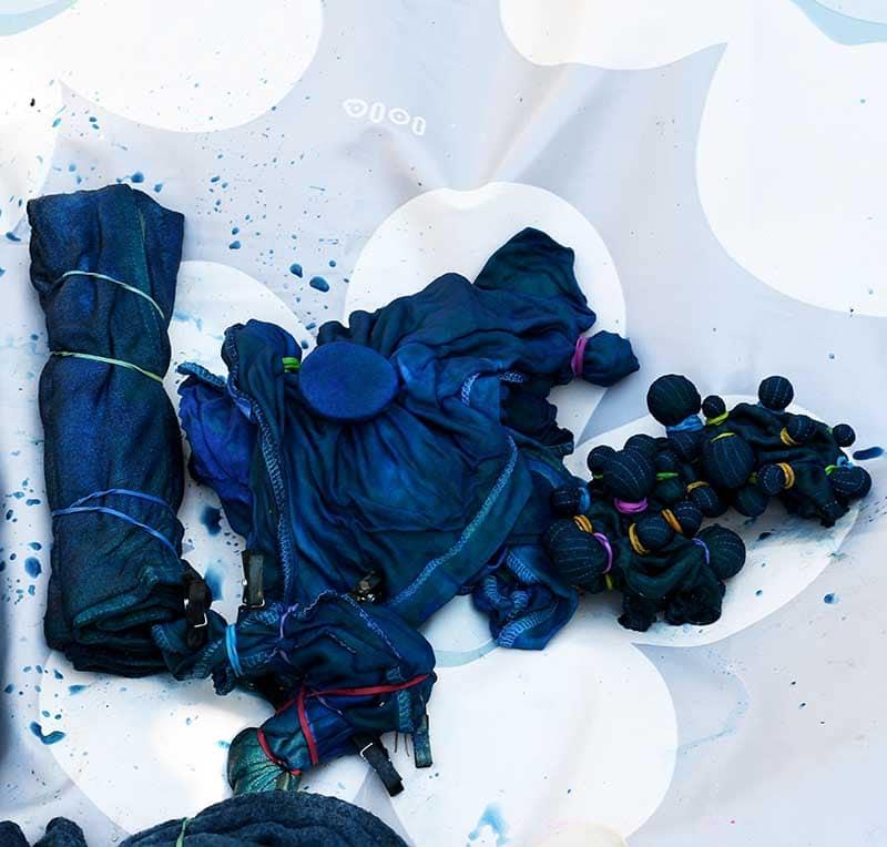 Making shibori indigo planter covers