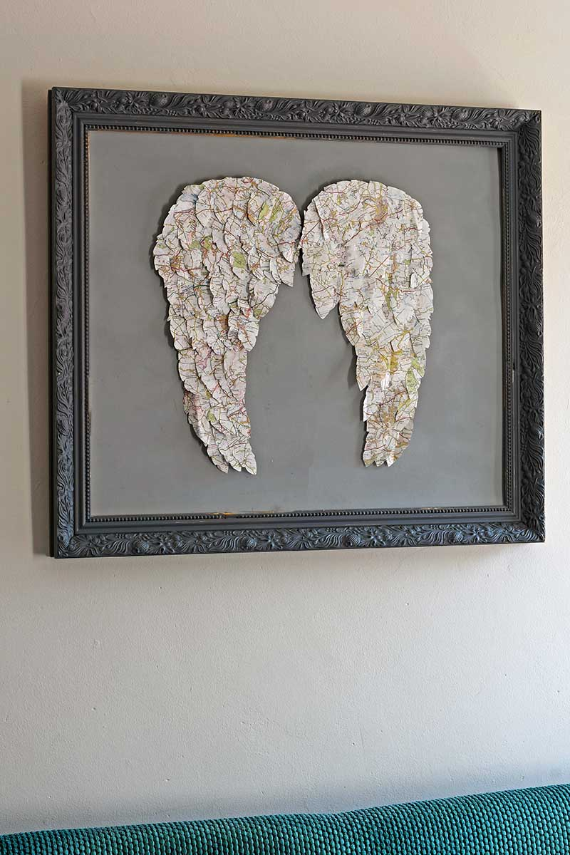 Framed map angel wing wall decor