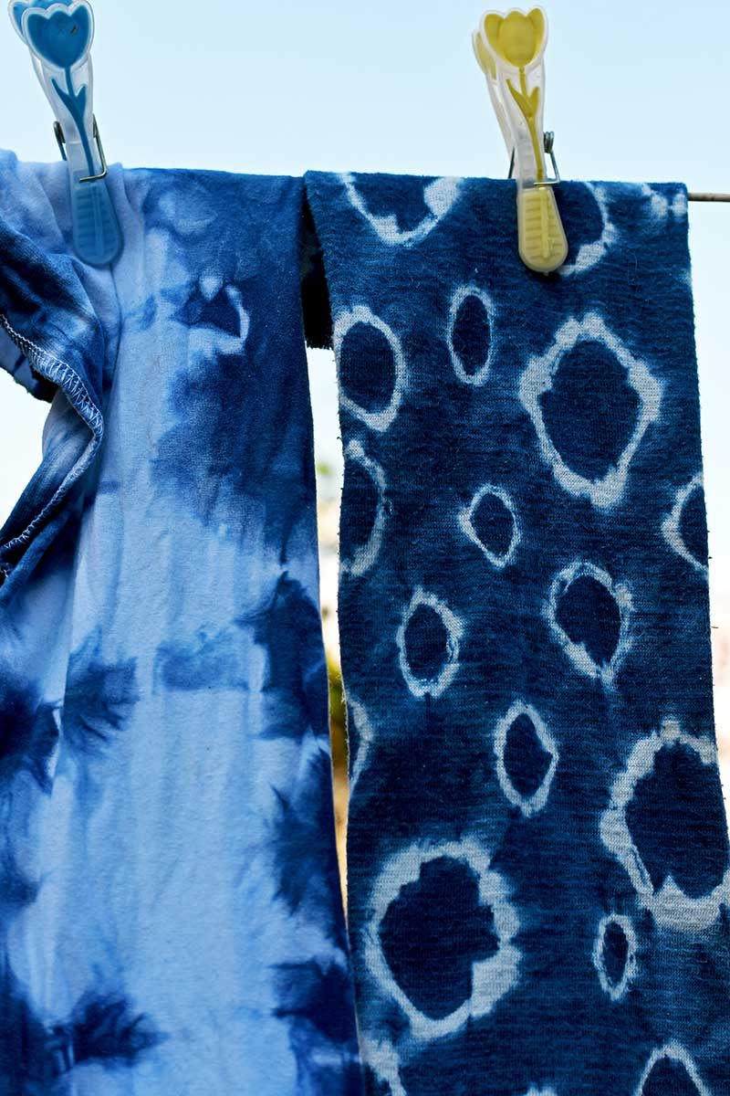Shibori cloth drying for indigo planters