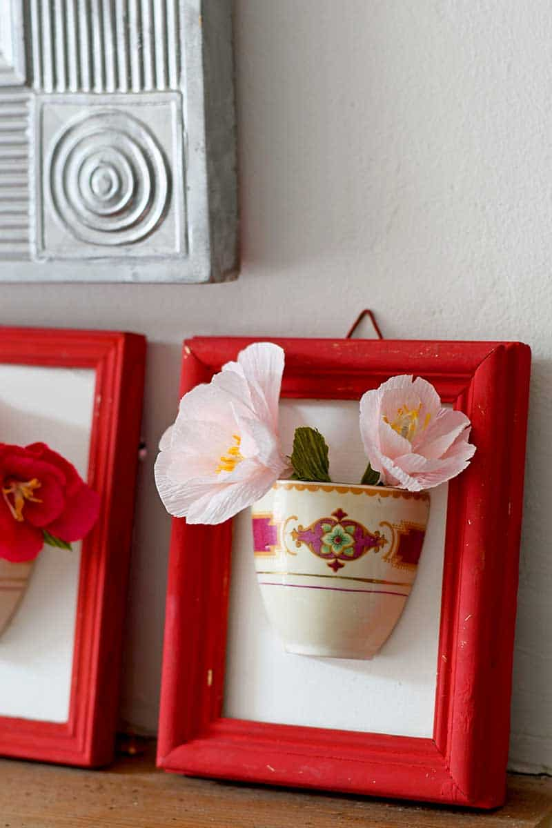 Framed China cup vase
