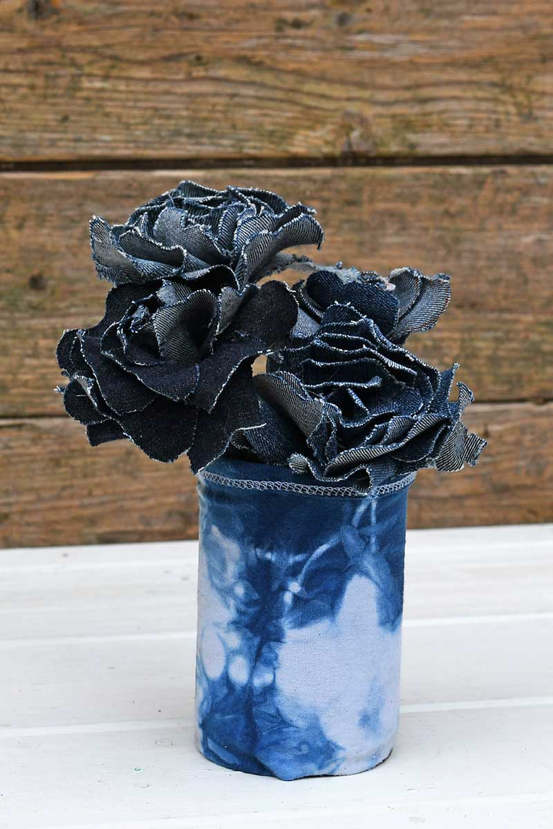 Shibori indigo vase with denim flowers
