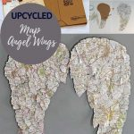 Upcycled map angel wings decor